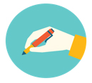 website copy updates graphic icon of pencil and paper
