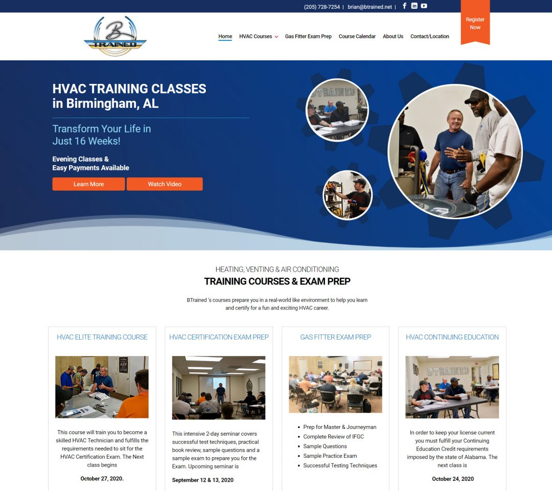 screenshot of Btrained Home page web design