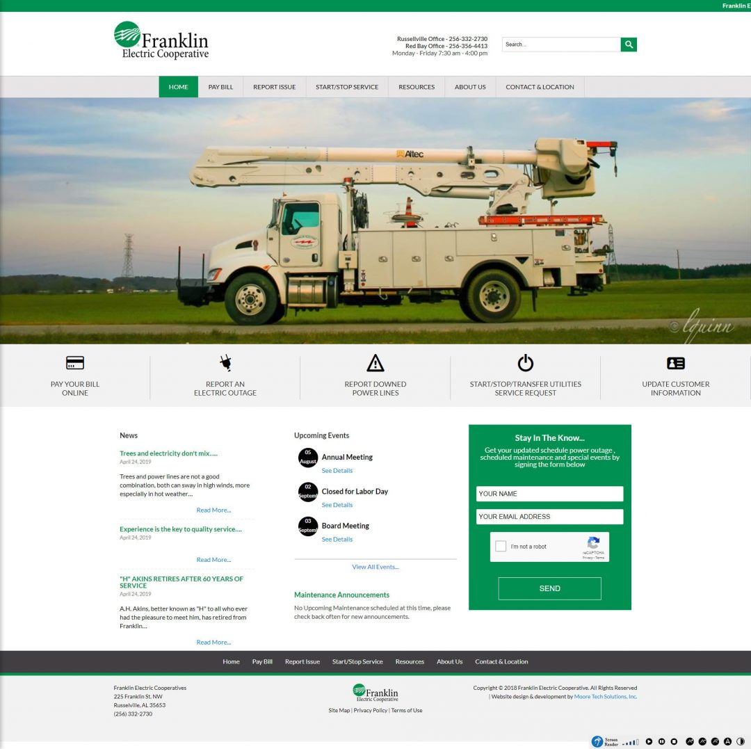 screenshot of franklin electric utility home page web design
