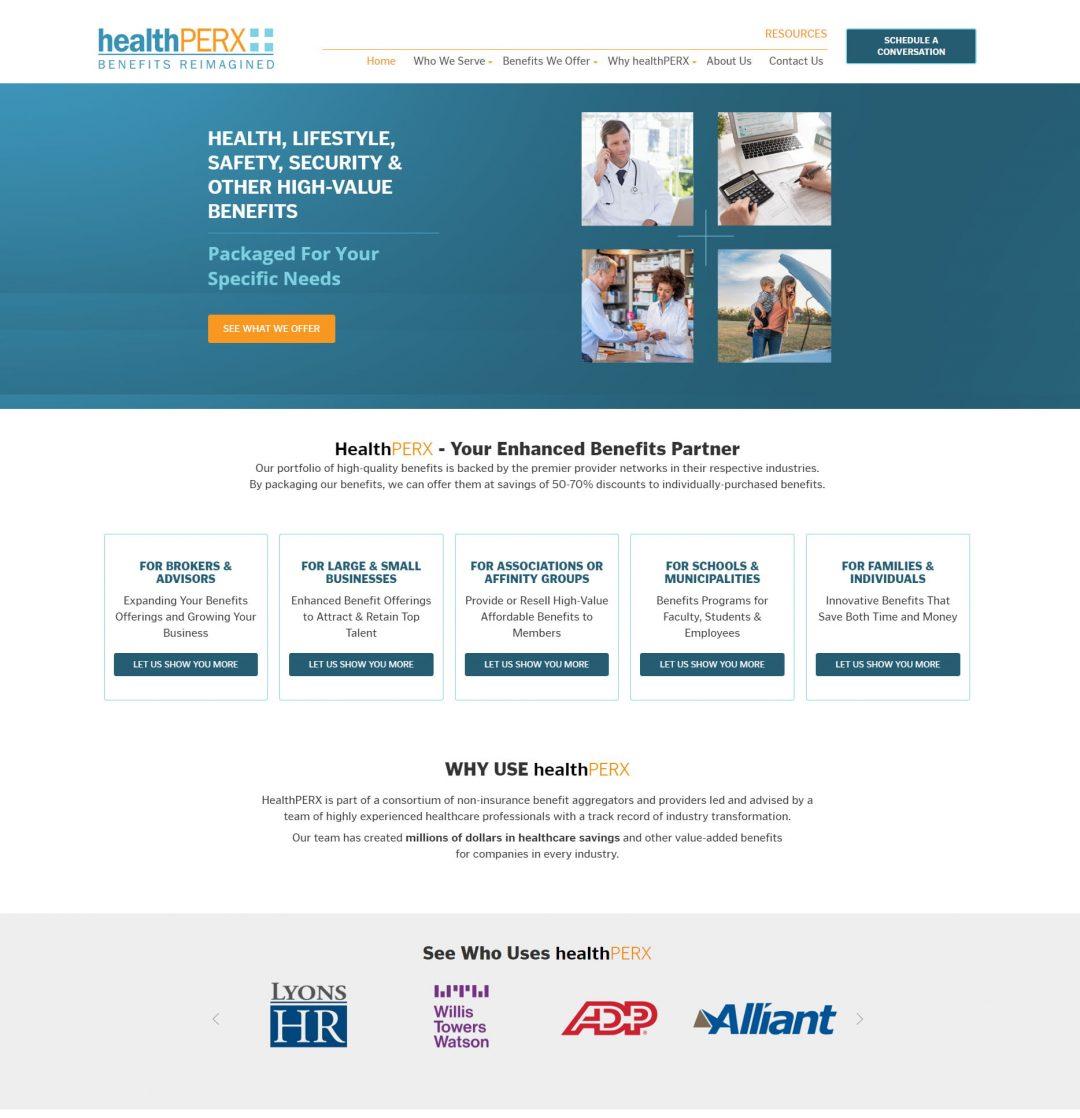 screenshot of healthperx home page design