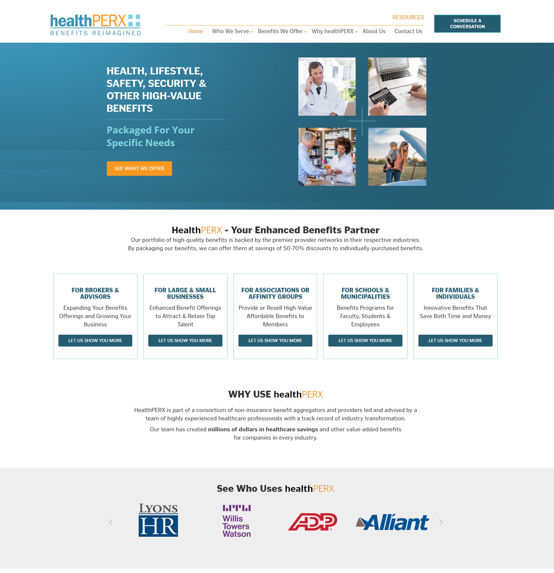 screenshot of healthperx home page design