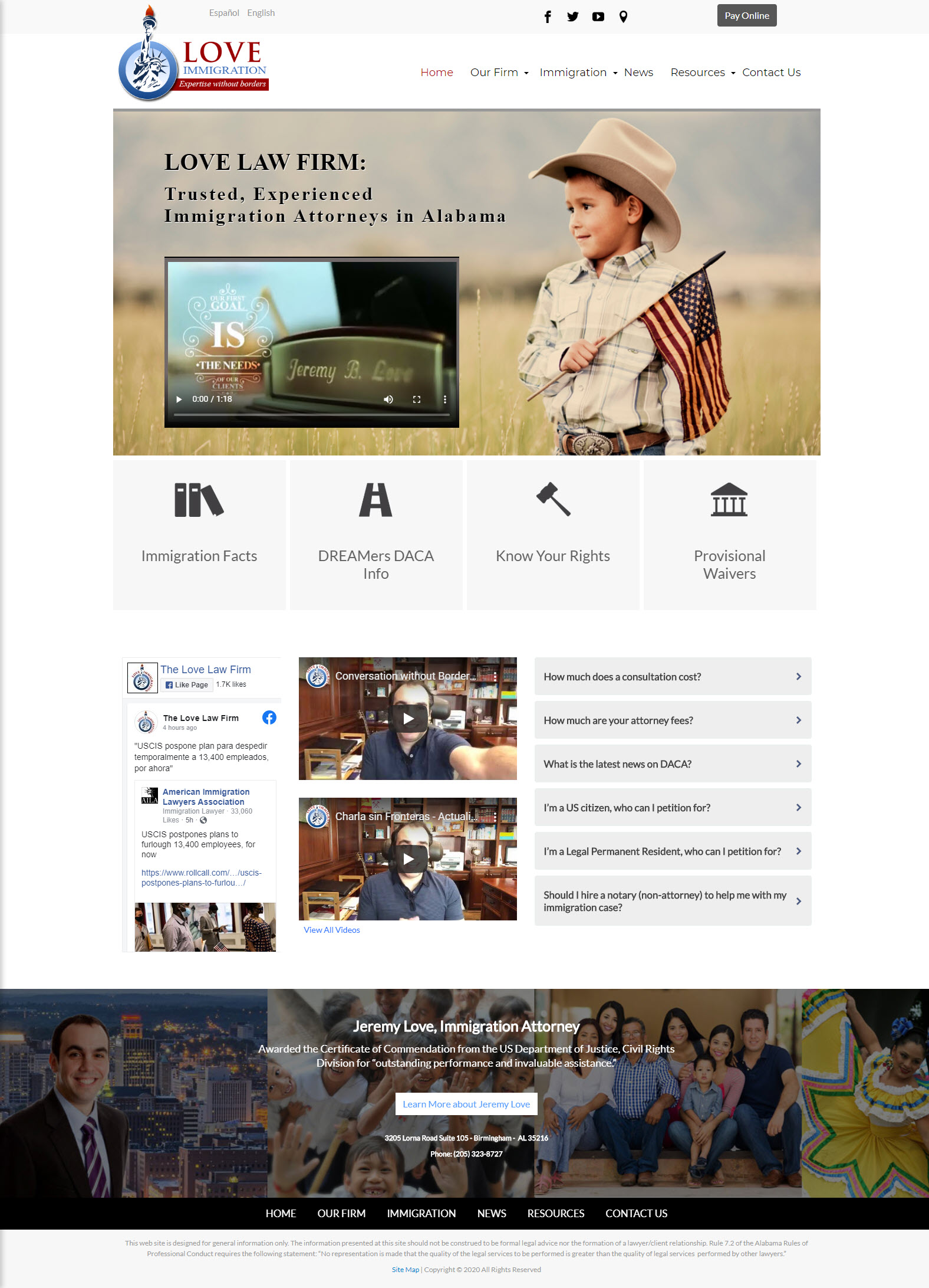 screen shot of love immigration website home page