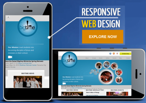 screenshot graphic depicting desktop view and phone view for responsive design