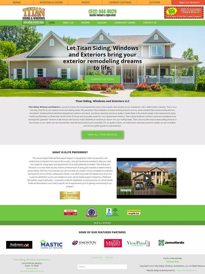 screen shot of titan siding home page design